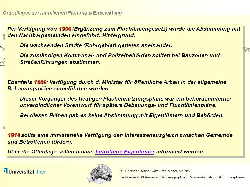 Per Verfügung von 1906 (Ergänzung zum Fluchtliniengesetz) wurde die Abstimmung mit den Nachbargemeinden eingeführt. Hintergrund: