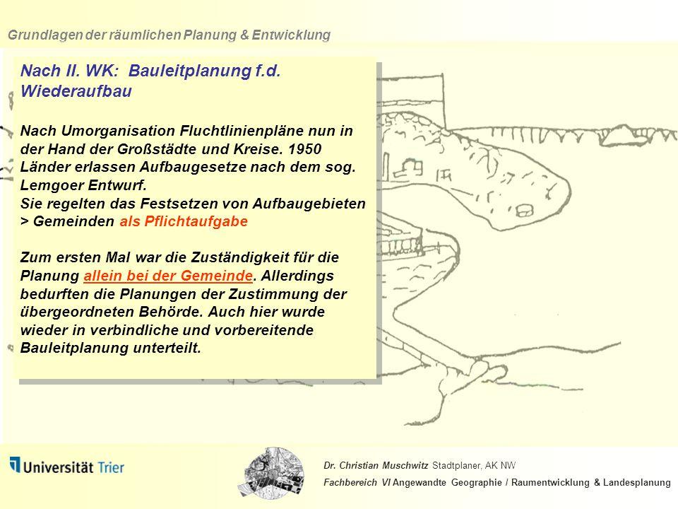 Nach II. WK: Bauleitplanung f.d. Wiederaufbau