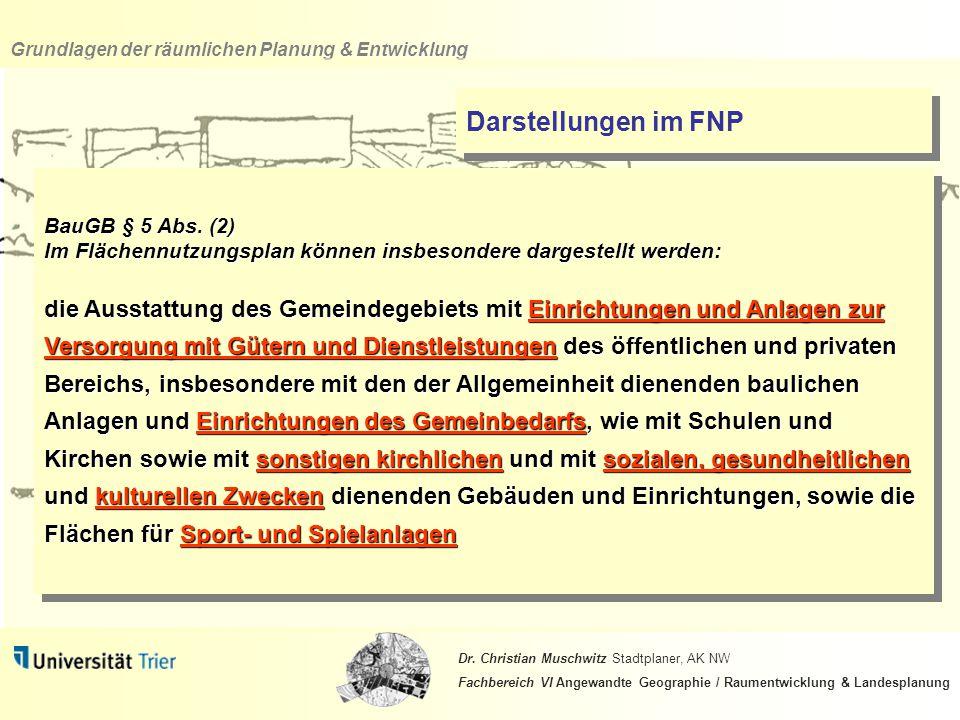Darstellungen im FNP BauGB § 5 Abs. (2) Im Flächennutzungsplan können insbesondere dargestellt werden: