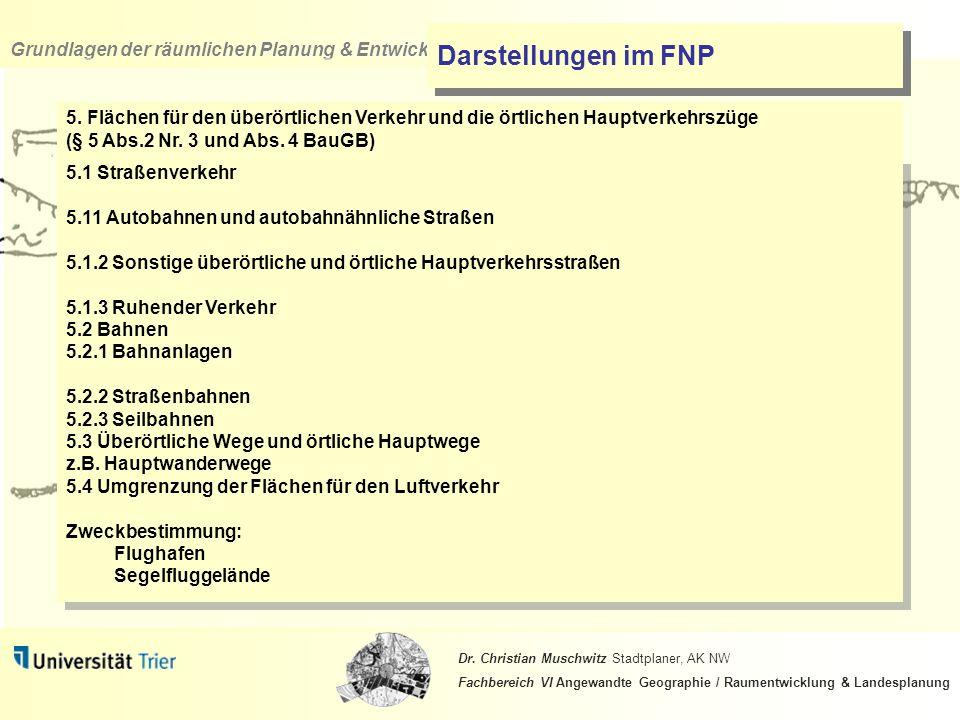 Darstellungen im FNP 5. Flächen für den überörtlichen Verkehr und die örtlichen Hauptverkehrszüge (§ 5 Abs.2 Nr. 3 und Abs. 4 BauGB)