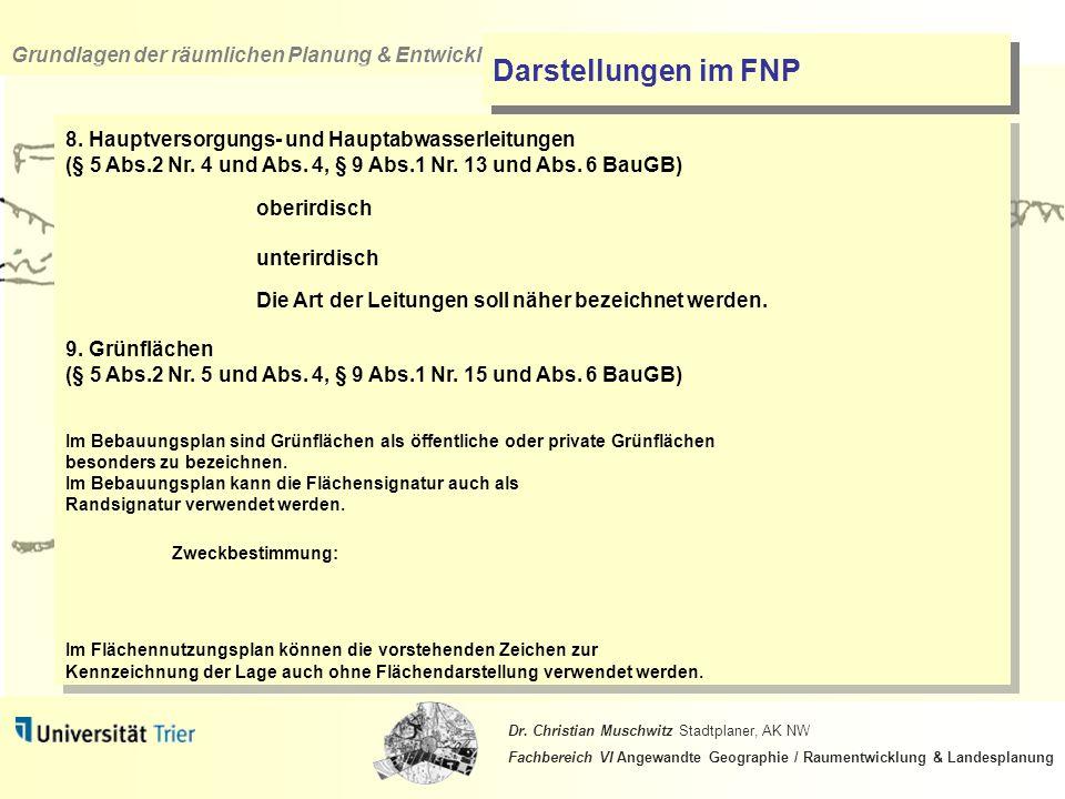 Darstellungen im FNP 8. Hauptversorgungs- und Hauptabwasserleitungen (§ 5 Abs.2 Nr. 4 und Abs. 4, § 9 Abs.1 Nr. 13 und Abs. 6 BauGB)