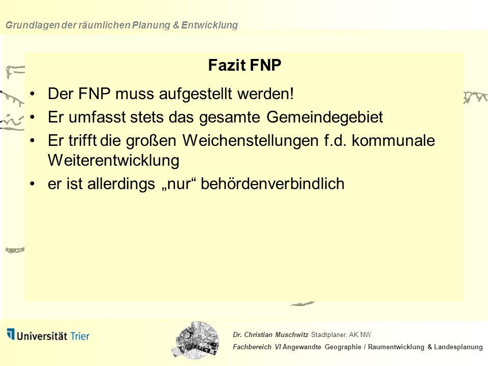 Fazit FNP Der FNP muss aufgestellt werden! Er umfasst stets das gesamte Gemeindegebiet.