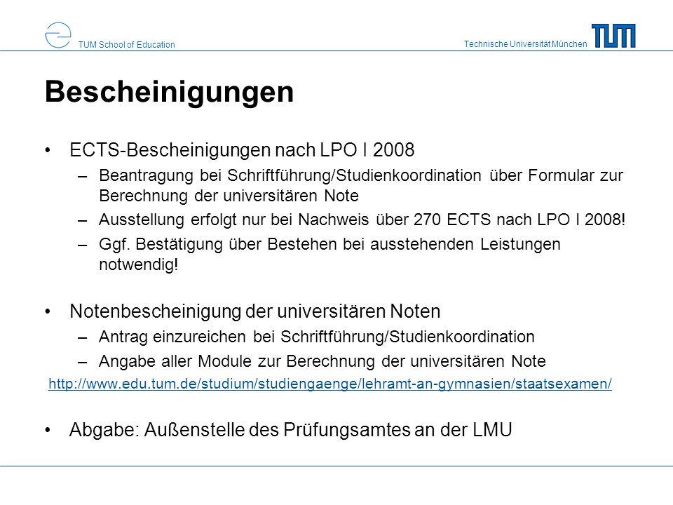 Bescheinigungen ECTS-Bescheinigungen nach LPO I 2008