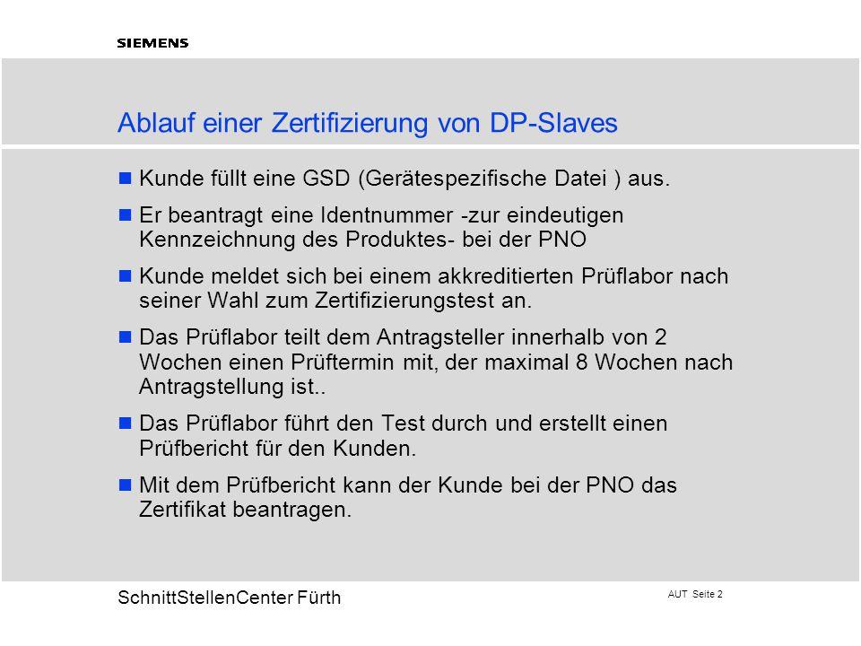 Ablauf einer Zertifizierung von DP-Slaves