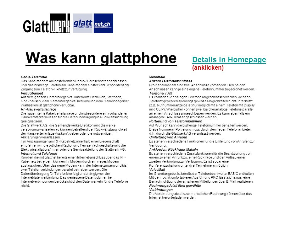 Was kann glattphone Details in Homepage (anklicken) Cable-Telefonie