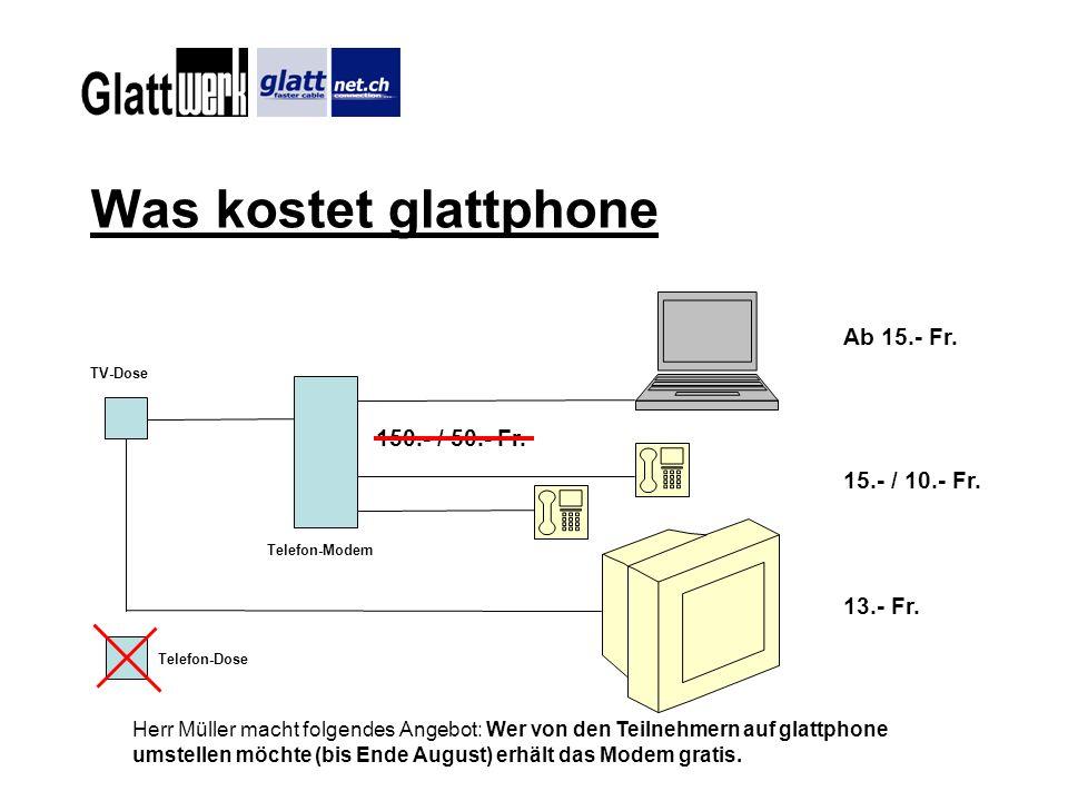 Was kostet glattphone Ab 15.- Fr. 150.- / 50.- Fr. 15.- / 10.- Fr.