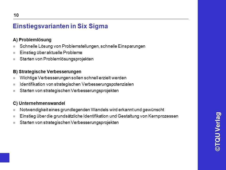 Einstiegsvarianten in Six Sigma