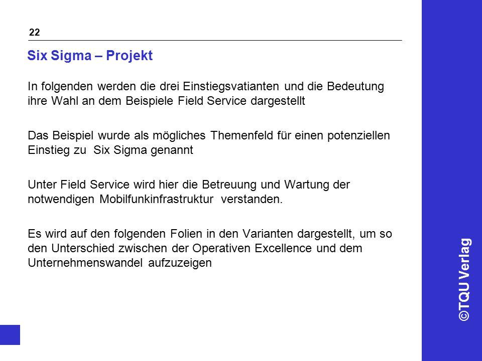 Six Sigma – Projekt In folgenden werden die drei Einstiegsvatianten und die Bedeutung ihre Wahl an dem Beispiele Field Service dargestellt.