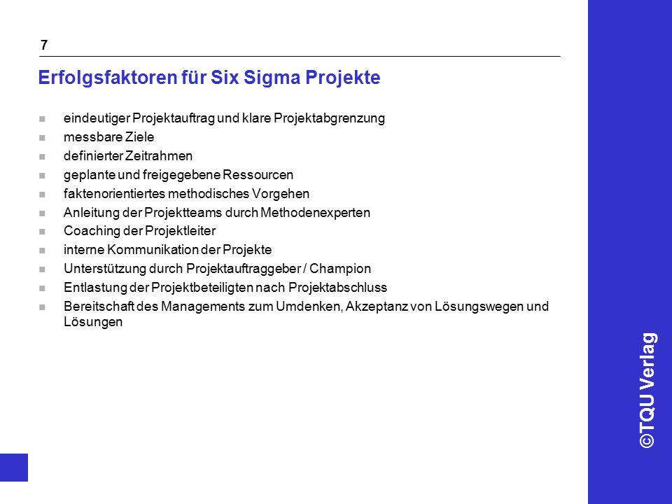 Erfolgsfaktoren für Six Sigma Projekte