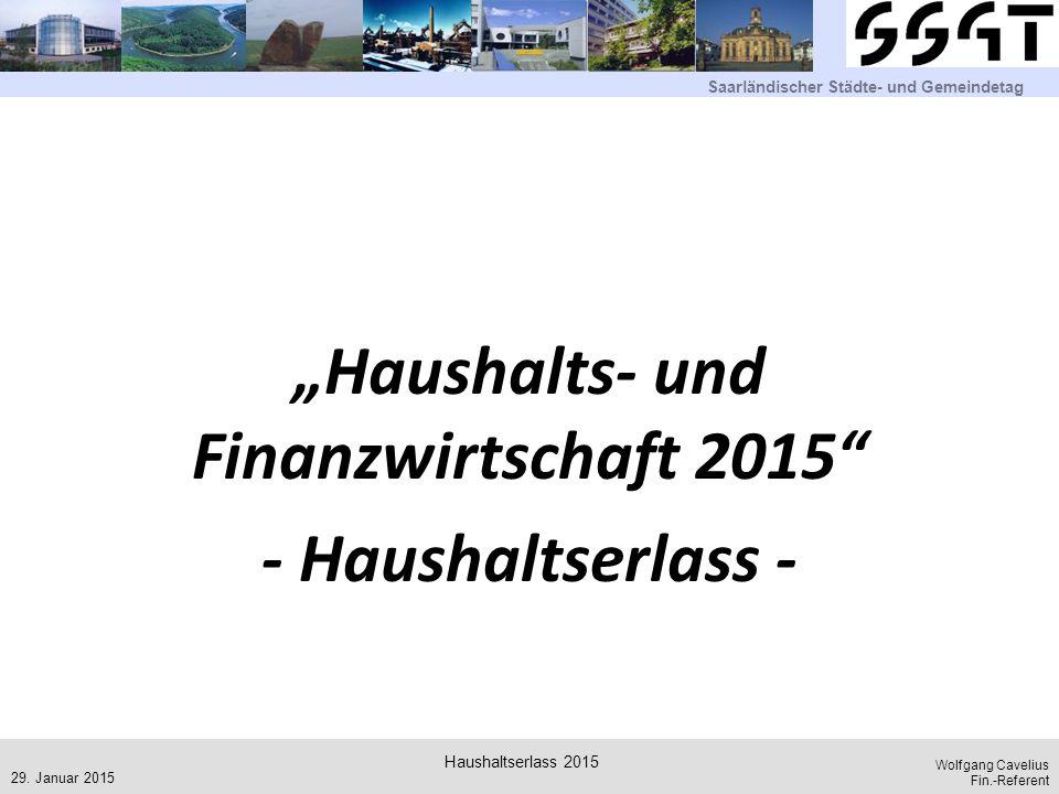 """""""Haushalts- und Finanzwirtschaft 2015 - Haushaltserlass -"""