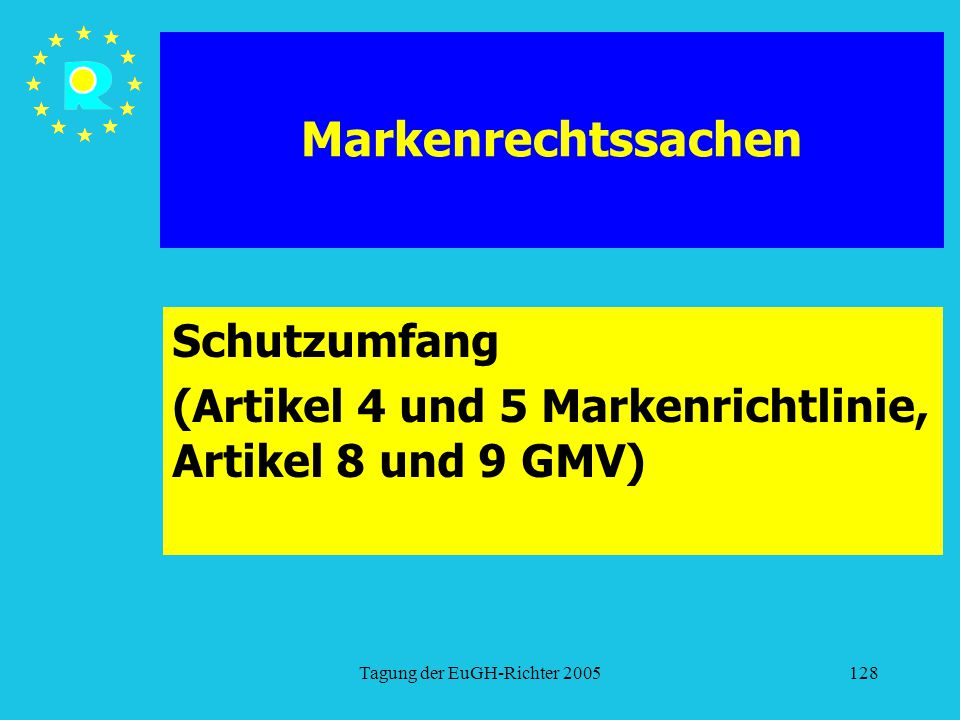 Schutzumfang (Artikel 4 und 5 Markenrichtlinie, Artikel 8 und 9 GMV)