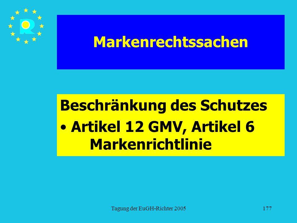 Beschränkung des Schutzes Artikel 12 GMV, Artikel 6 Markenrichtlinie