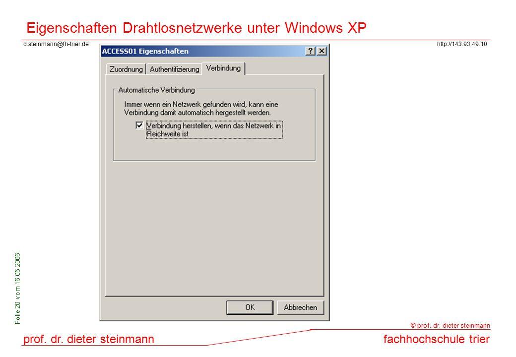 Eigenschaften Drahtlosnetzwerke unter Windows XP