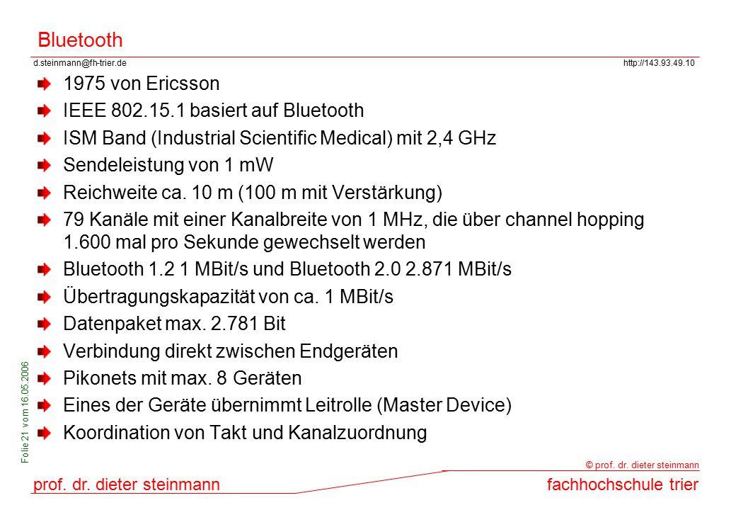 Bluetooth 1975 von Ericsson IEEE 802.15.1 basiert auf Bluetooth