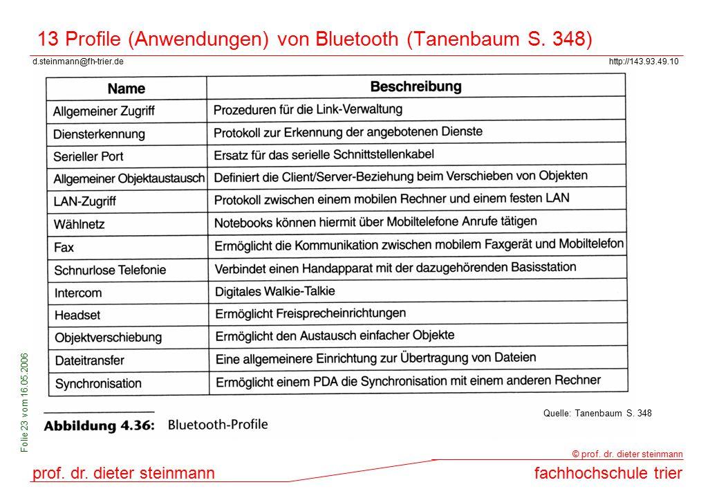 13 Profile (Anwendungen) von Bluetooth (Tanenbaum S. 348)