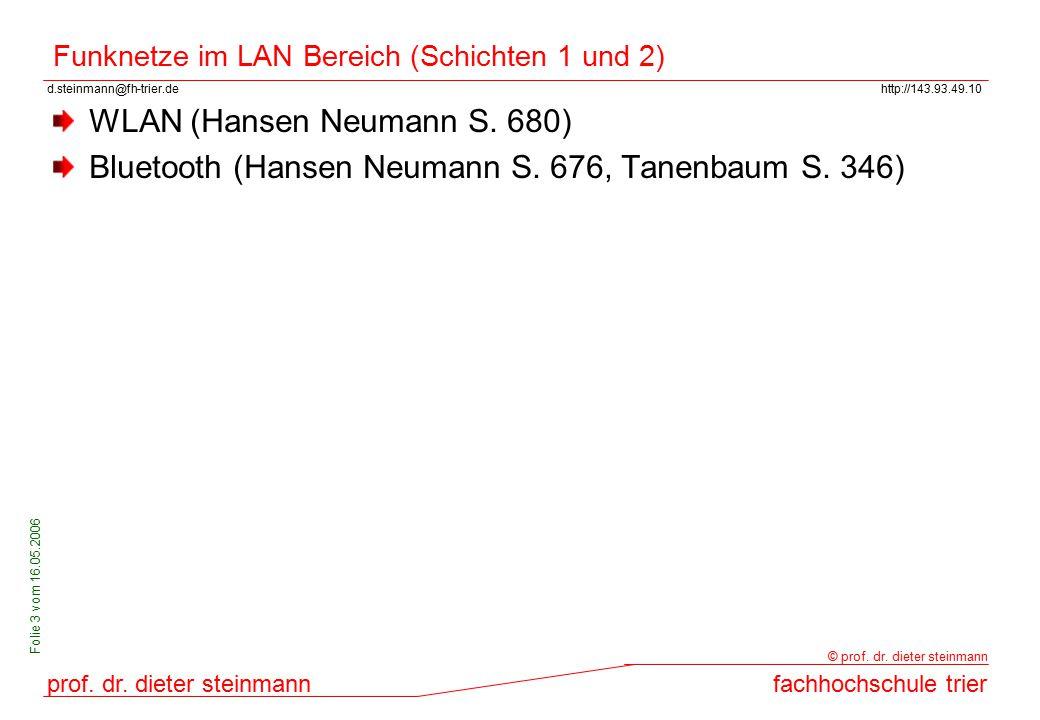 Funknetze im LAN Bereich (Schichten 1 und 2)
