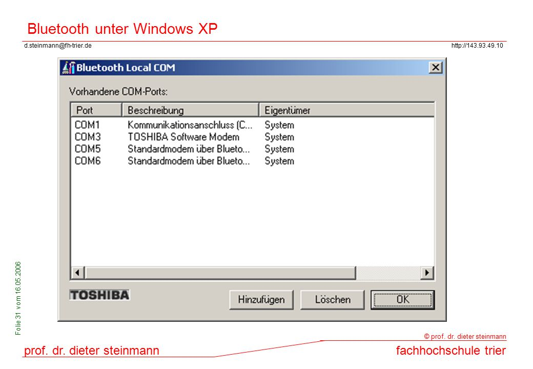 Bluetooth unter Windows XP