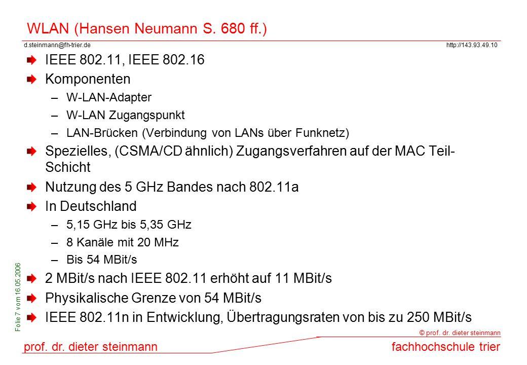 WLAN (Hansen Neumann S. 680 ff.)