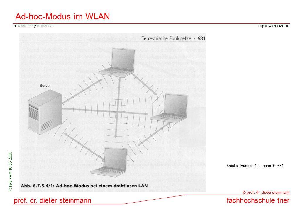 Ad-hoc-Modus im WLAN Quelle: Hansen Neumann S. 681