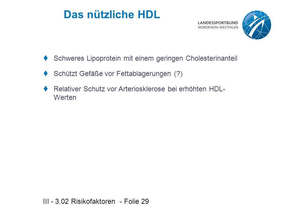 Das nützliche HDL Schweres Lipoprotein mit einem geringen Cholesterinanteil. Schützt Gefäße vor Fettablagerungen ( )