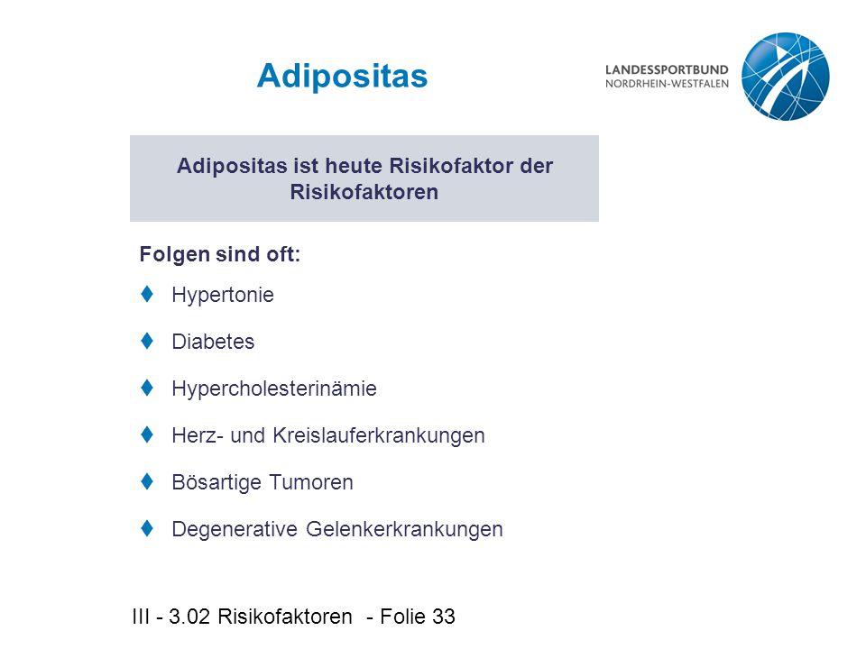 Adipositas ist heute Risikofaktor der Risikofaktoren