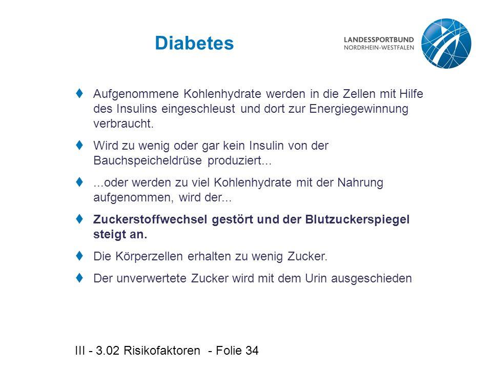 Diabetes Aufgenommene Kohlenhydrate werden in die Zellen mit Hilfe des Insulins eingeschleust und dort zur Energiegewinnung verbraucht.