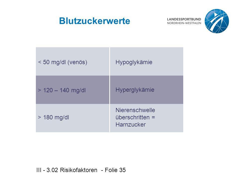 Blutzuckerwerte < 50 mg/dl (venös) Hypoglykämie