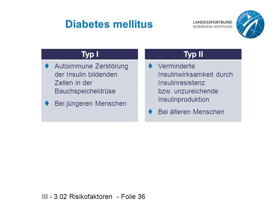 Diabetes mellitus Typ I Typ II