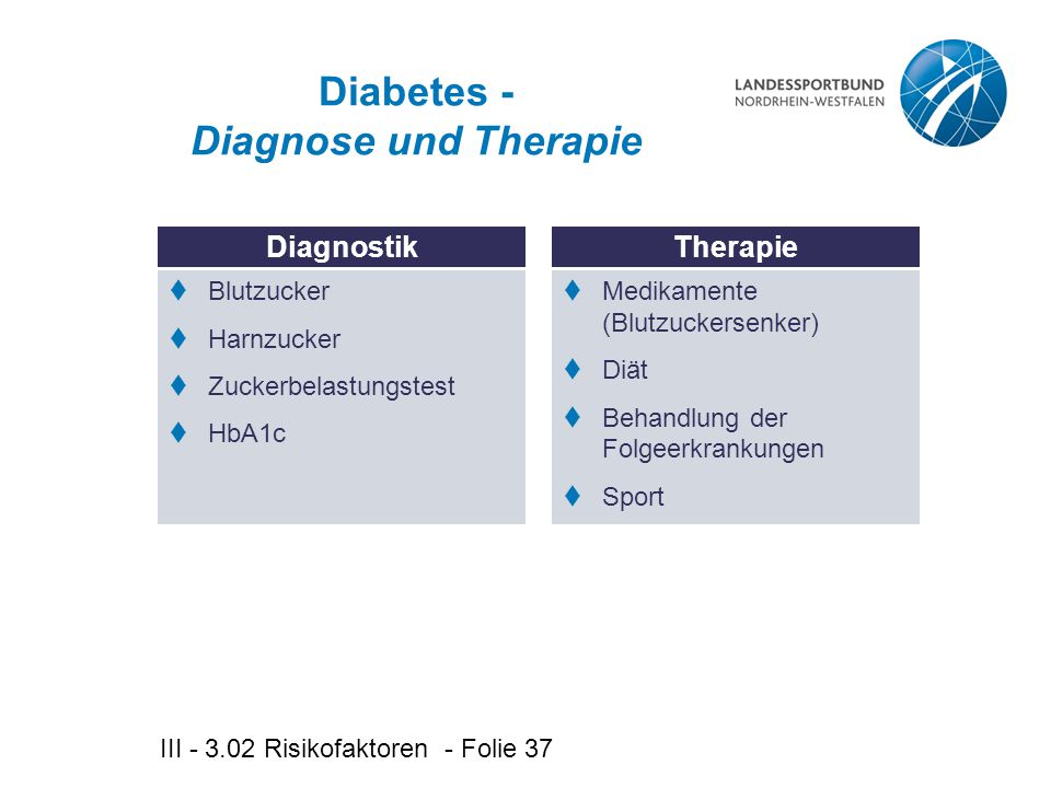 Diabetes - Diagnose und Therapie
