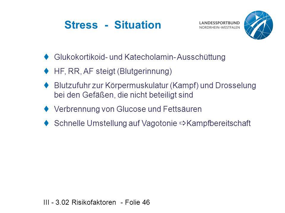 Stress - Situation Glukokortikoid- und Katecholamin- Ausschüttung