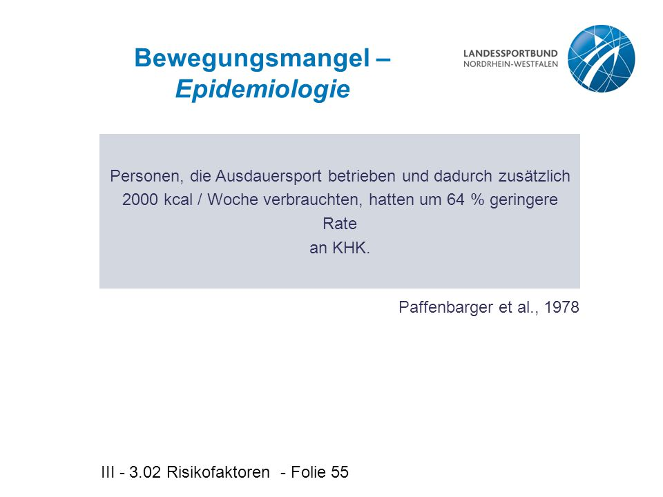 Bewegungsmangel – Epidemiologie