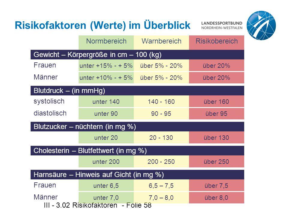 Risikofaktoren (Werte) im Überblick