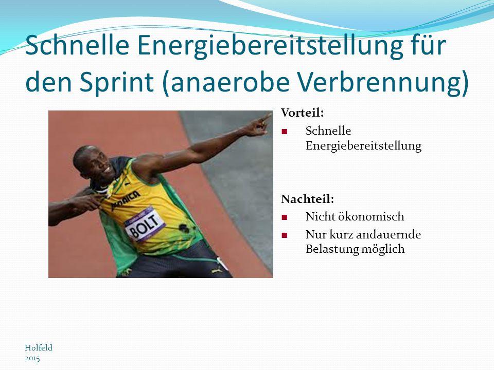 Schnelle Energiebereitstellung für den Sprint (anaerobe Verbrennung)