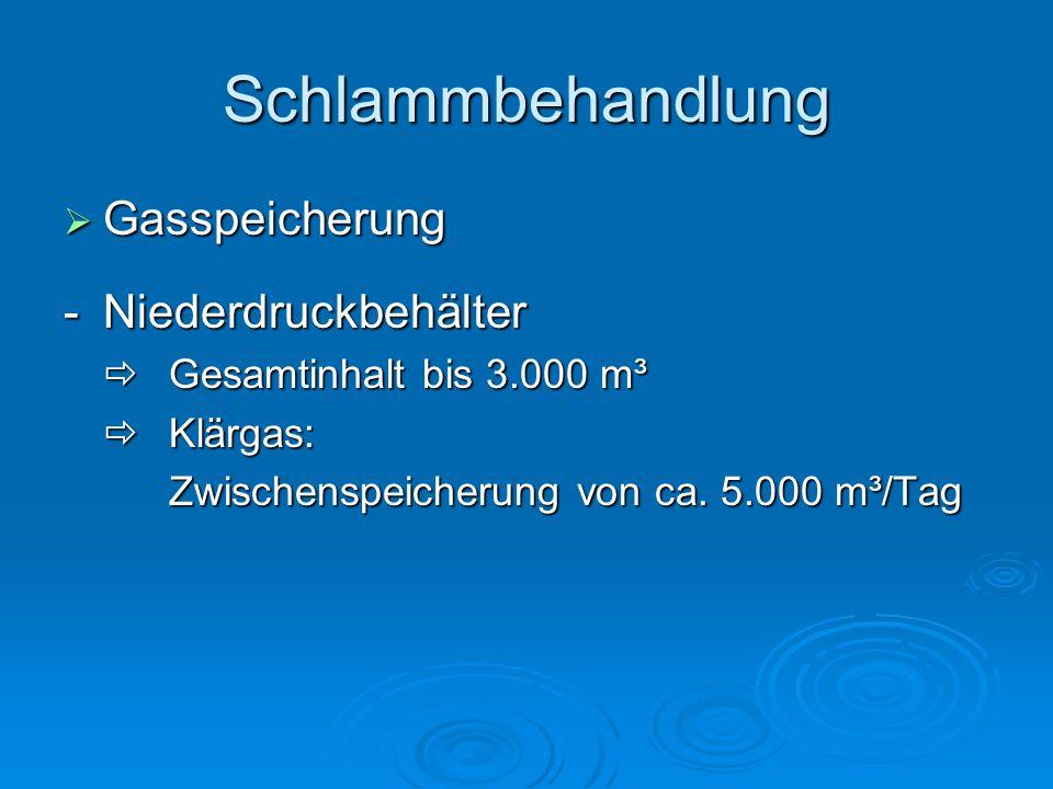 Schlammbehandlung Gasspeicherung - Niederdruckbehälter