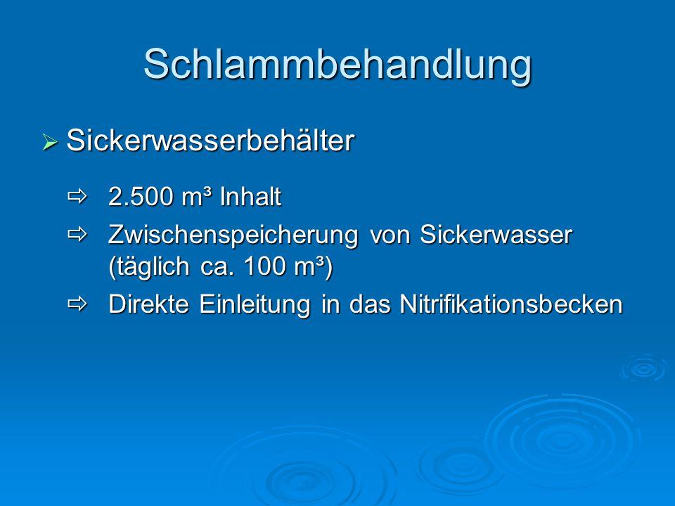 Schlammbehandlung Sickerwasserbehälter  2.500 m³ Inhalt