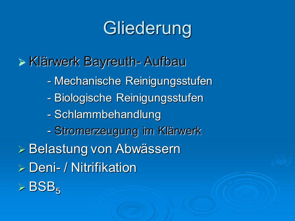 Gliederung Klärwerk Bayreuth- Aufbau - Mechanische Reinigungsstufen