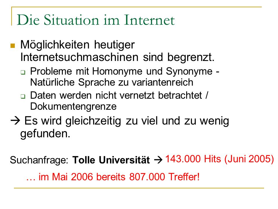 Die Situation im Internet