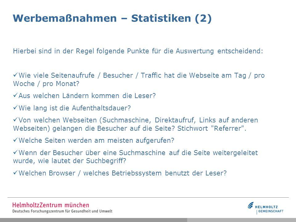 Werbemaßnahmen – Statistiken (2)