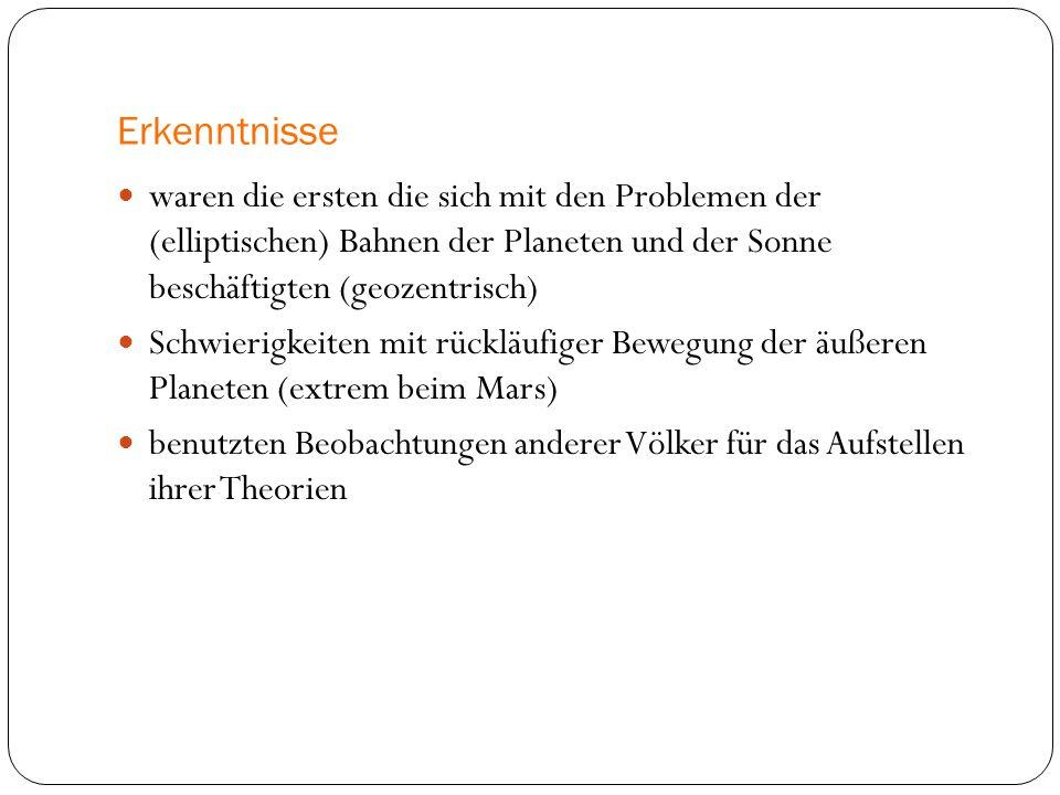 Erkenntnisse waren die ersten die sich mit den Problemen der (elliptischen) Bahnen der Planeten und der Sonne beschäftigten (geozentrisch)