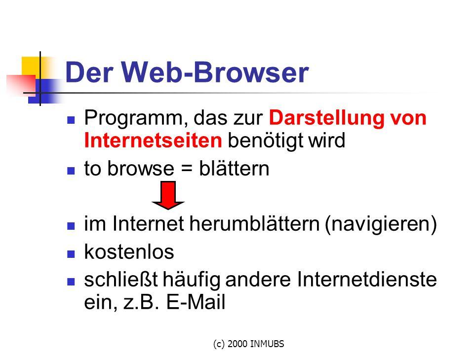 Der Web-Browser Programm, das zur Darstellung von Internetseiten benötigt wird. to browse = blättern.