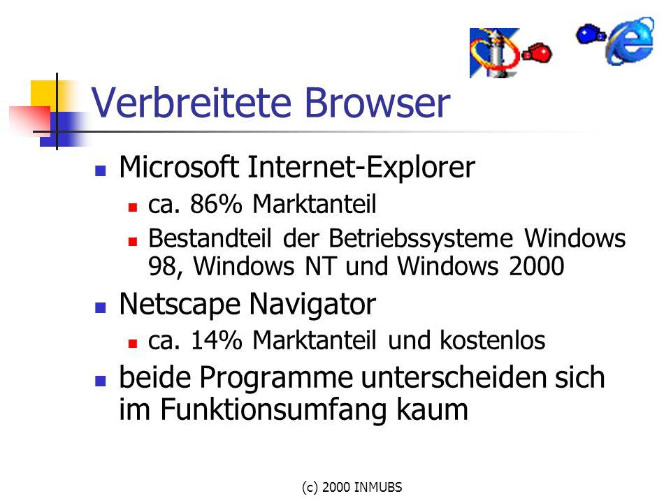 Verbreitete Browser Microsoft Internet-Explorer Netscape Navigator