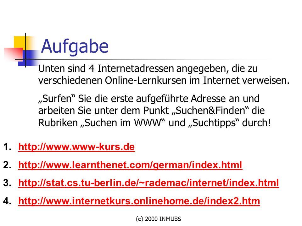 Aufgabe Unten sind 4 Internetadressen angegeben, die zu verschiedenen Online-Lernkursen im Internet verweisen.