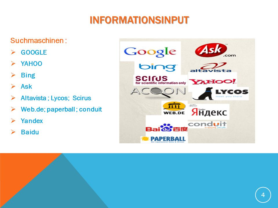 INFORMATIONSINPUT Suchmaschinen : GOOGLE YAHOO Bing Ask