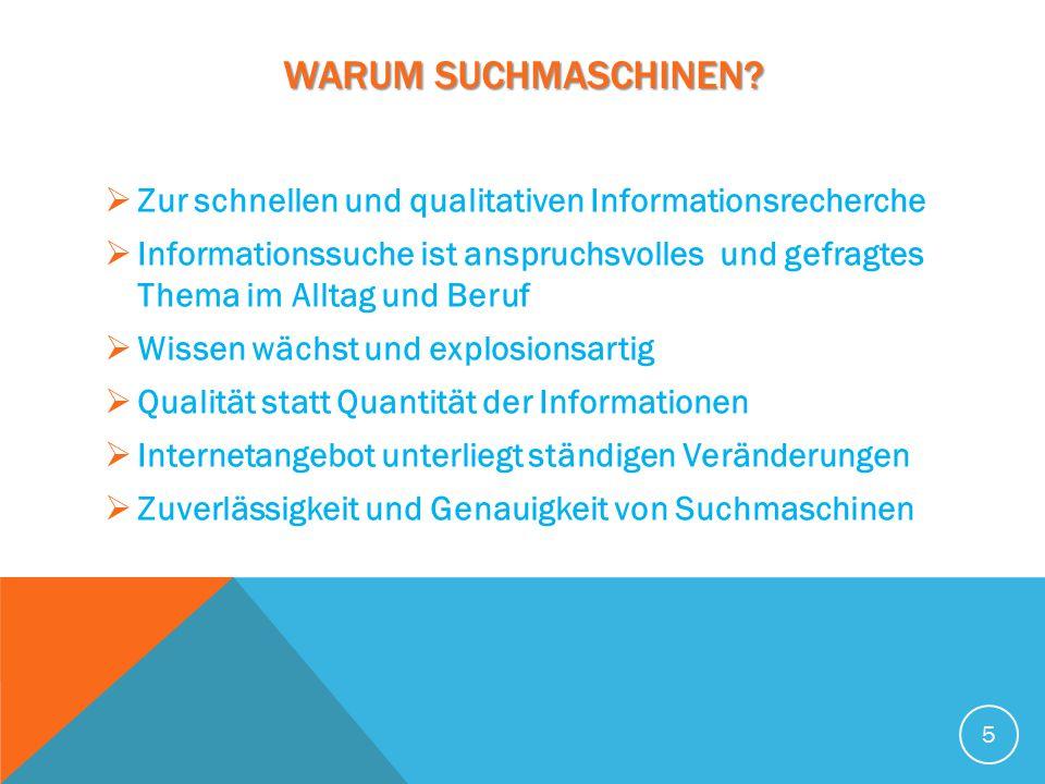 WARUM SUCHMASCHINEN Zur schnellen und qualitativen Informationsrecherche.
