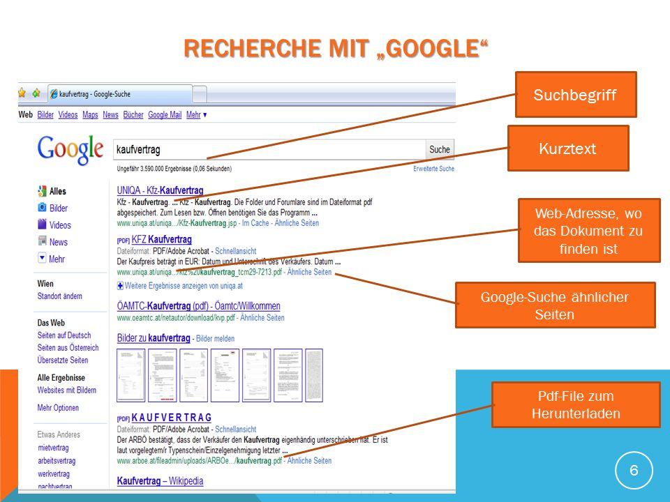 """Recherche mit """"GOOGLE"""