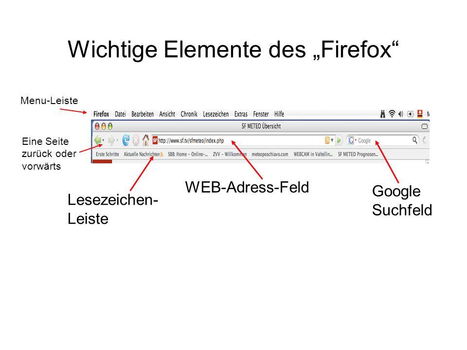 """Wichtige Elemente des """"Firefox"""