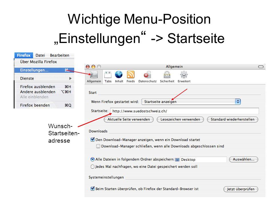 """Wichtige Menu-Position """"Einstellungen -> Startseite"""