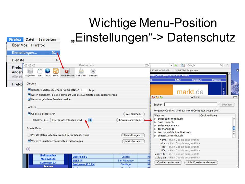 """Wichtige Menu-Position """"Einstellungen -> Datenschutz"""