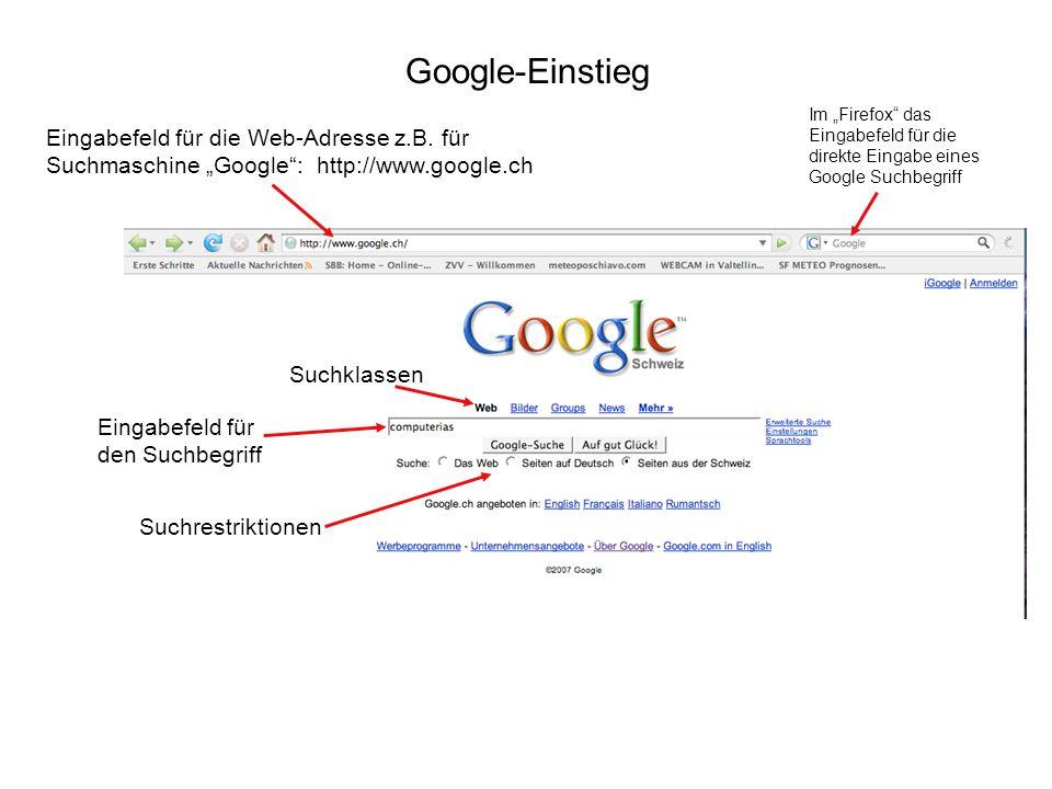 Google-Einstieg Eingabefeld für die Web-Adresse z.B. für