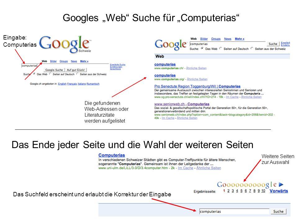 """Googles """"Web Suche für """"Computerias"""